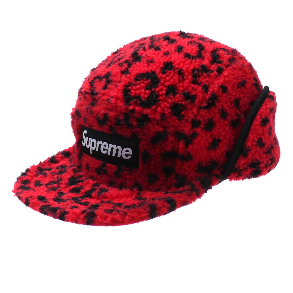 シュプリーム SUPREME Leopard Polar Fleece Earflap Camp Cap キャンプキャップ RED 265000977133+【新品】