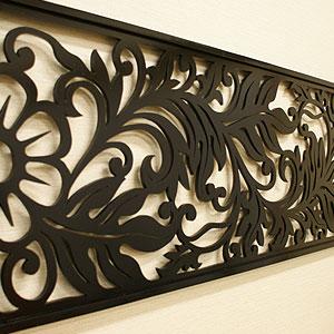 アートパネル リゾートリーフB 140×45 アートパネル おしゃれ 壁掛け インテリア モダン アジアン バリ 北欧 インテリアアートパネル チーク アートフレーム 木製