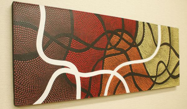 バリ絵画 ドットアート 120×45 Omix アートパネル アジアン バリ 絵画 壁掛け アート 北欧 モダン インテリア ファブリックパネル ドットペインティング