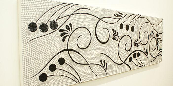 バリ絵画 ドットアート140x45 S アートパネル アジアン バリ 絵画 壁掛け アート ファブリックパネル 北欧 モダン