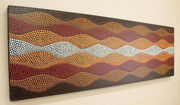 バリ絵画 ドットアート140×45 K アートパネル アジアン バリ 絵画 壁掛け アート ファブリックパネル 北欧 モダン