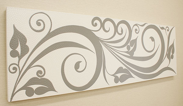 バリ絵画 ドットアート140×45 C モノトーン アートパネル アジアン バリ 絵画 壁掛け アート 北欧 インテリア ファブリックパネル
