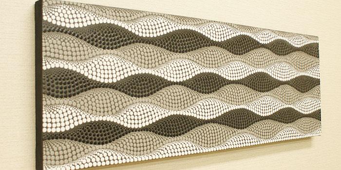 バリ絵画 ドットアート100×35 Lbk アートパネル バリ 絵画 壁掛け アート アジアン 北欧 ファブリックパネル モダン 抽象画 ドットペインティング