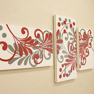バリ絵画 3連複合 ドットアート 05 アートパネル 3連 アジアン バリ 絵画 壁掛け アート 北欧 インテリア ファブリックパネル