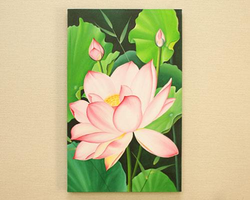 バリ絵画 ロータス B 50×80 花 絵画 インテリア おしゃれ 壁掛け 絵 アートパネル 北欧 アジアン バリ ファブリックパネル