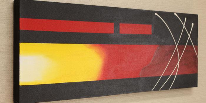 バリ絵画 モダンスタイルアート100×35 17 アートパネル アート 壁掛け 絵画 アジアン 北欧 モダン 抽象画 ファブリックパネル