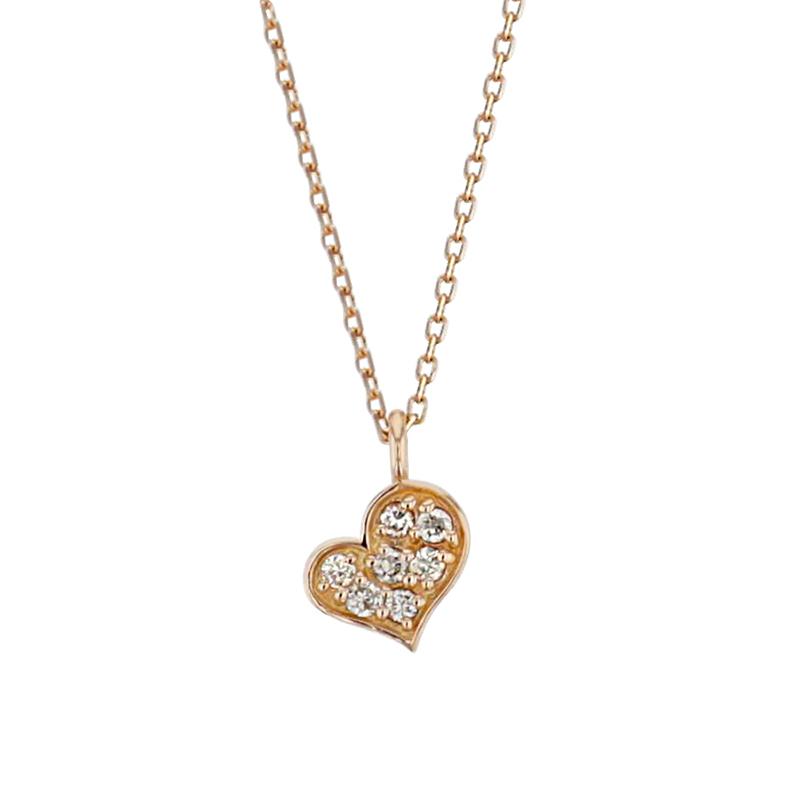 ネックレス レディース ダイヤモンド K10 ピンクゴールド シンプル 10k 10金 ハート 0.03カラット 【 BLOOM ブルーム 】 プレゼント 贈り物 プレゼント ギフト 記念日 誕生日 ジュエリー アクセサリー ブランド