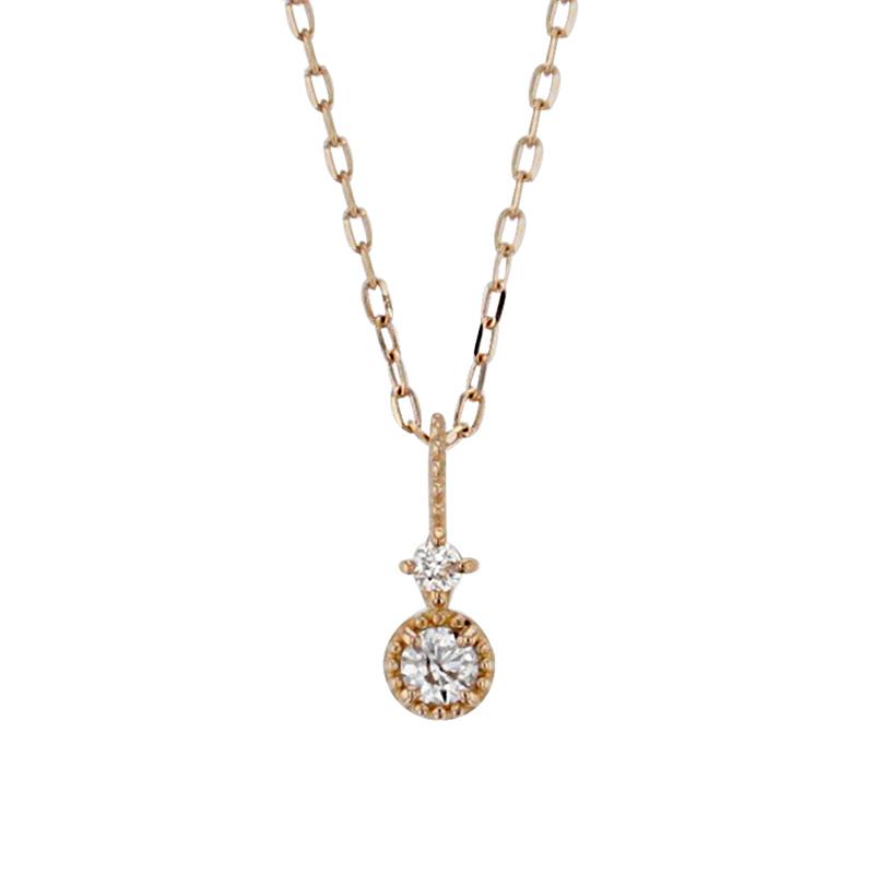 ネックレス レディース ダイヤモンド K10 ピンクゴールド シンプル 10k 10金 0.04カラット 【 BLOOM ブルーム 】 卒業祝 入学祝