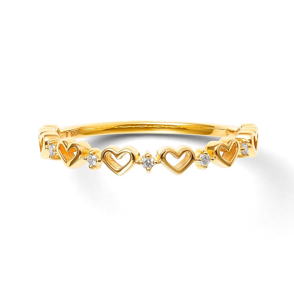 華奢可愛い指輪は重ね着けでおしゃれを楽しんでも お呼ばれアクセサリー リング レディース ダイヤモンド K10 イエローゴールド シンプル 10k 10金 ハート BLOOM ブルーム 出色 誕生石 贈り物 60代 ギフト 20代 ジュエリー 30代 40代 奥さん プレゼント クリスマス 妻 50代 彼女 ファクトリーアウトレット