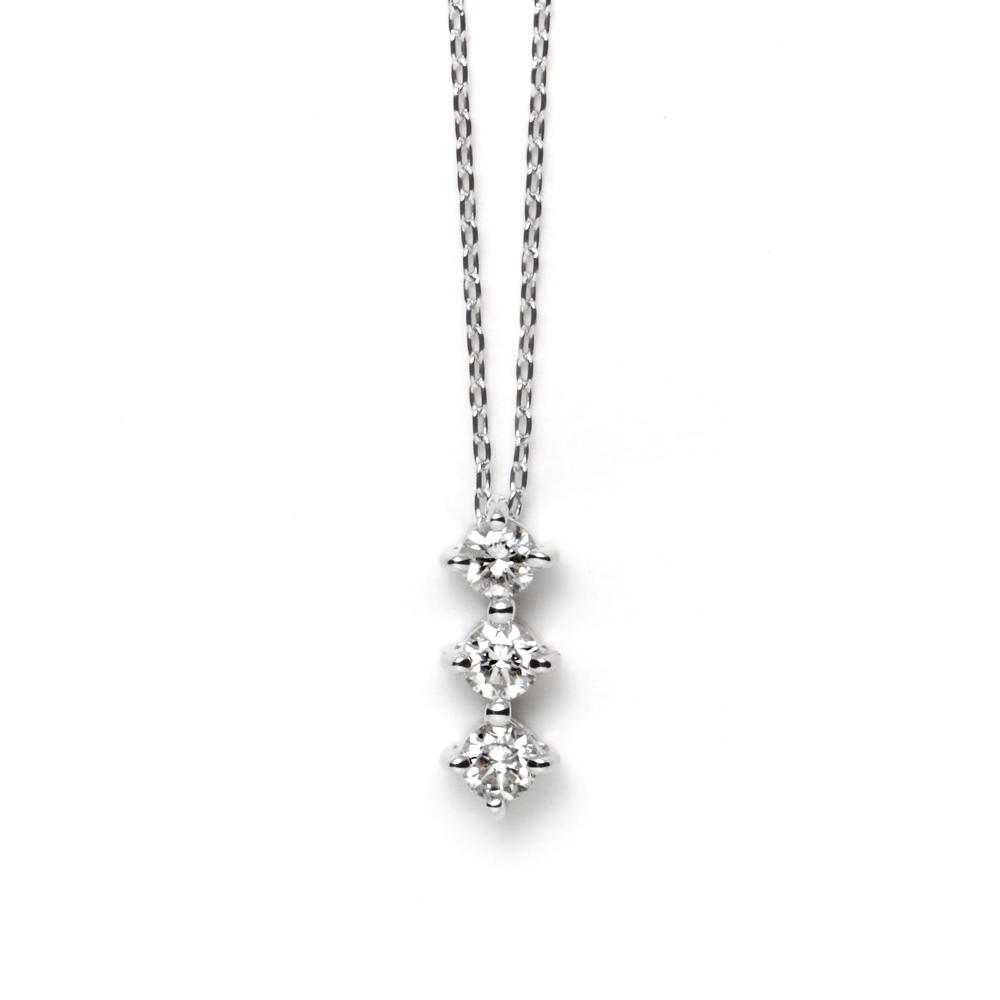 ネックレス レディース ダイヤモンド K18 ホワイトゴールド 18k 18金 シンプル 0.15カラット 【 ESTELLE エステール 】