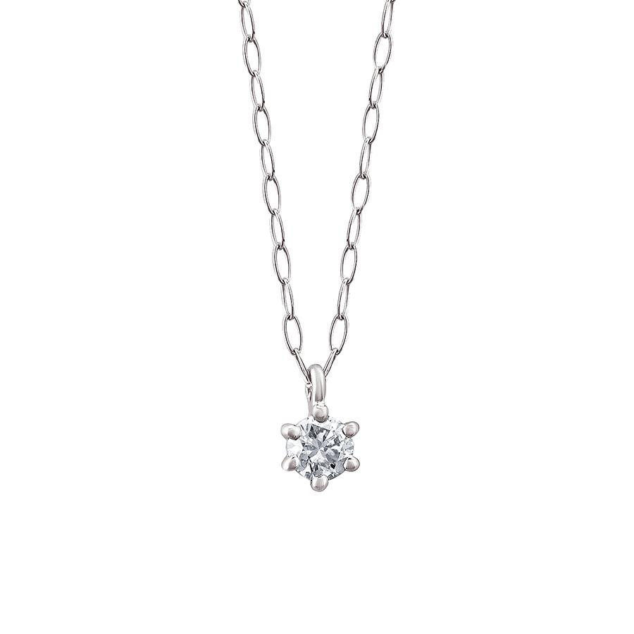ネックレス レディース ダイヤモンド シンプル K18 ホワイトゴールド 18k 18金 一粒 0.06カラット 【 ESTELLE エステール 】 卒業祝 入学祝