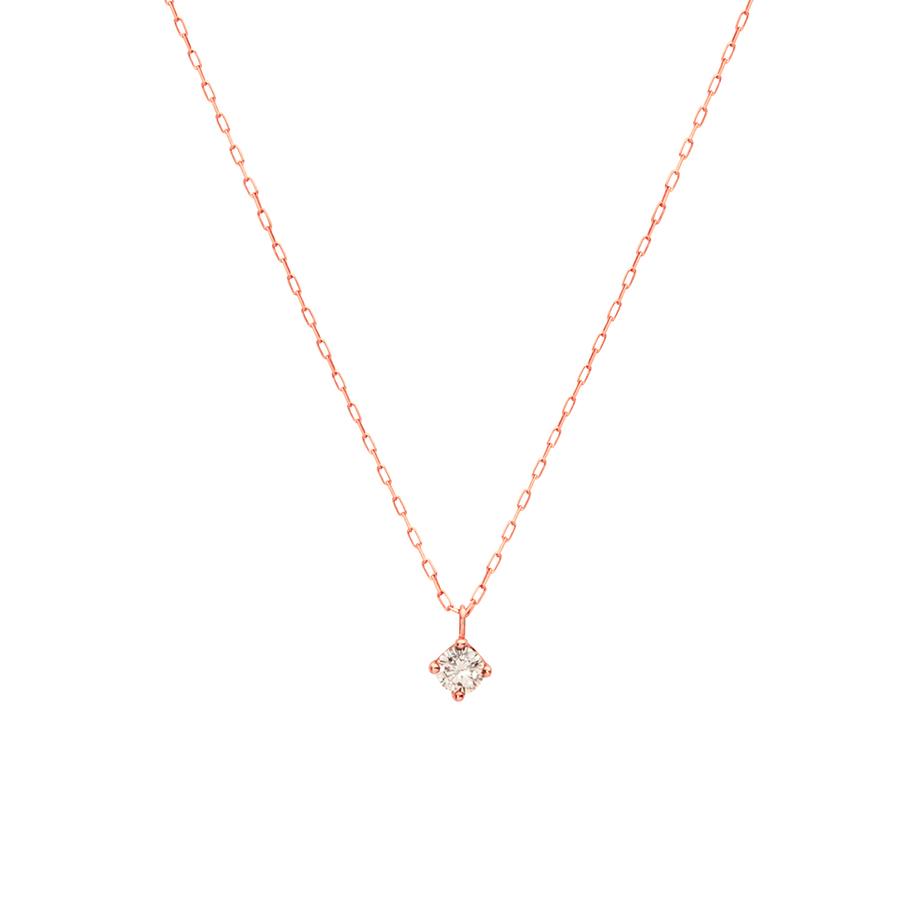 ネックレス レディース ダイヤモンド K18 ピンクゴールド 18k 18金 一粒 0.14カラット 【 ESTELLE エステール 】