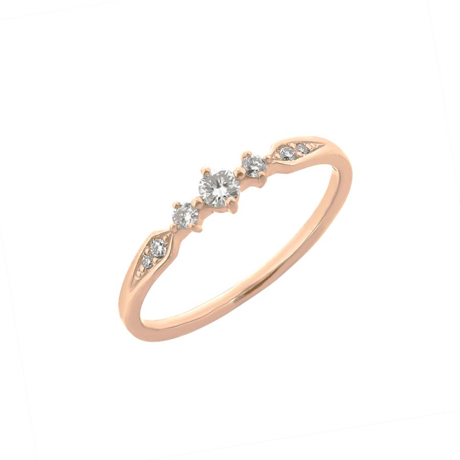 リング レディース ダイヤモンド K18 ピンクゴールド k18 0.15カラット 【 ESTELLE エステール 】