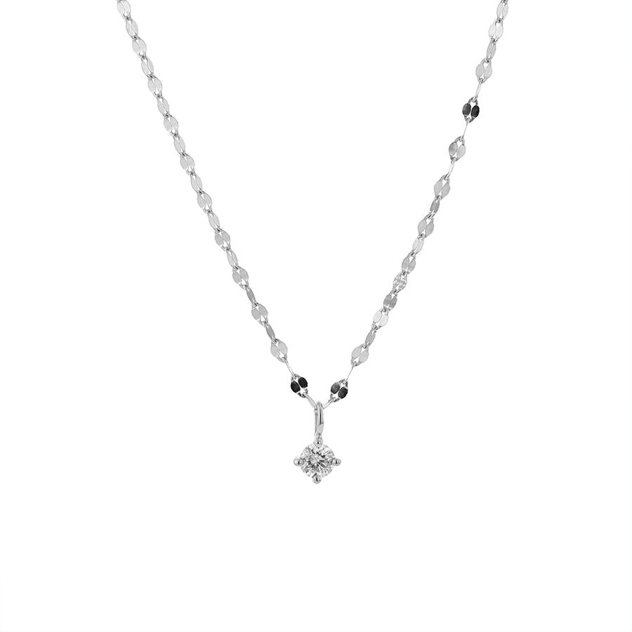 ネックレス レディース ダイヤモンド シンプル K18 ホワイトゴールド 18k 18金 一粒 【 ESTELLE エステール 】