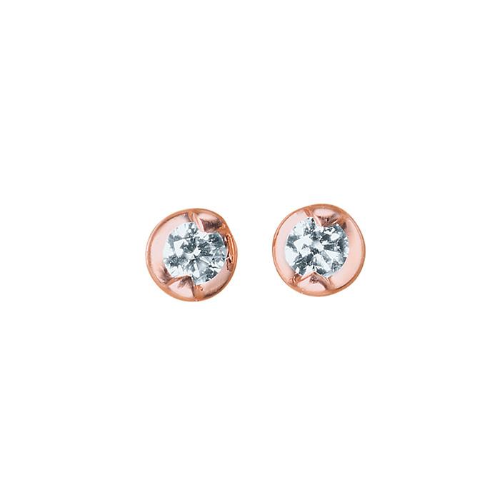 ピアス レディース ダイヤモンド シンプル 小ぶり K10 ピンクゴールド 10k 10金 一粒 【 ESTELLE エステール 】母の日