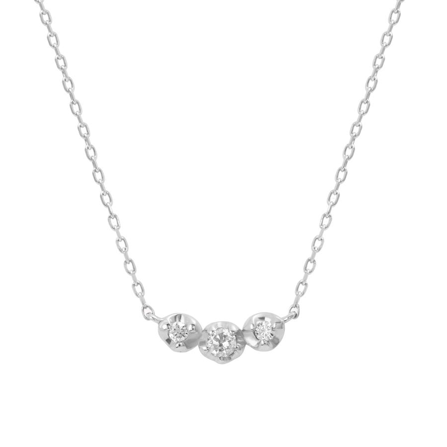 ネックレス レディース ダイヤモンド K10 ホワイトゴールド シンプル 10k 10金 【 BLOOM ブルーム 】 卒業祝 入学祝
