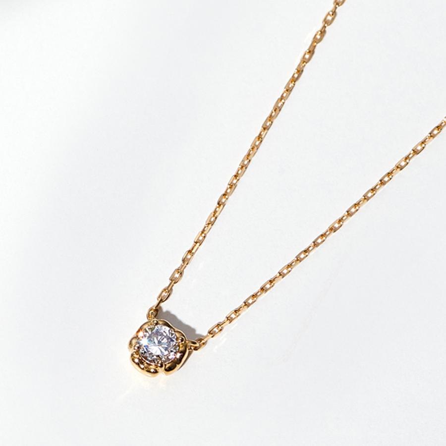 ネックレス レディース ダイヤモンド K18 イエローゴールド シンプル 18k 18金 0.06カラット 一粒 【 BLOOM ブルーム 】 卒業祝 入学祝