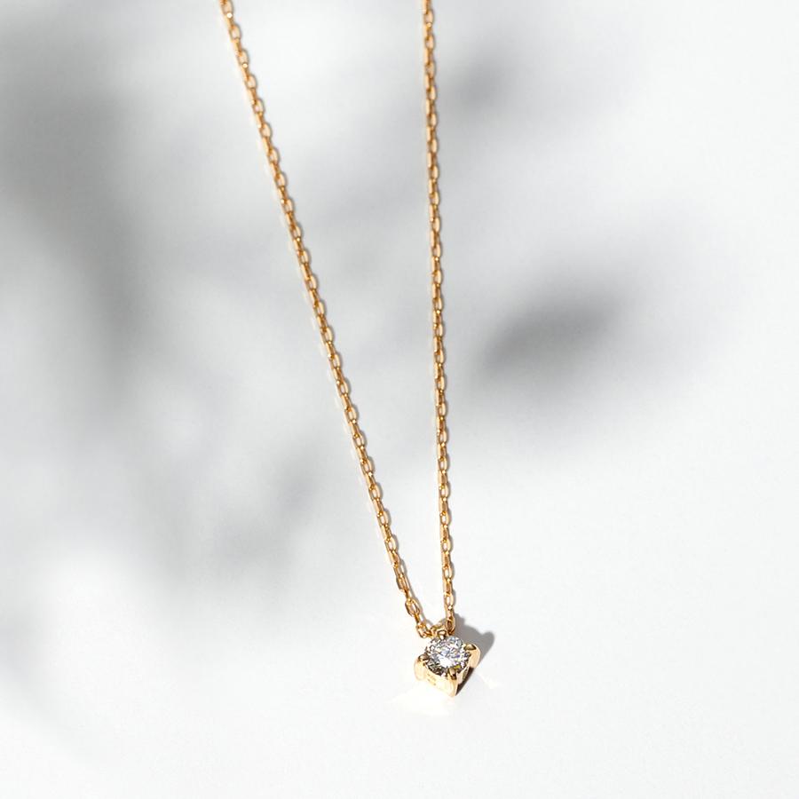 ネックレス レディース ダイヤモンド K18 イエローゴールド シンプル 18k 18金 0.06カラット 【 BLOOM ブルーム 】 卒業祝 入学祝