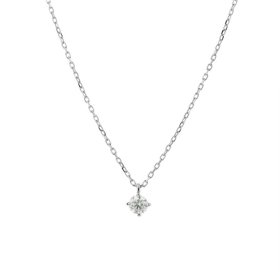 ネックレス レディース ダイヤモンド プラチナ シンプル 0.1カラット 一粒 【 BLOOM ブルーム 】