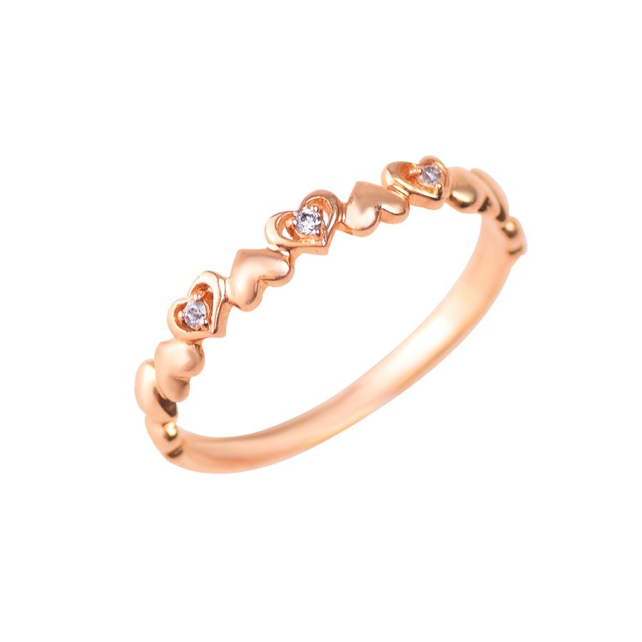 リング レディース ダイヤモンド シンプル かわいい K10 ピンクゴールド k10 ハート 【 ESTELLE エステール 】