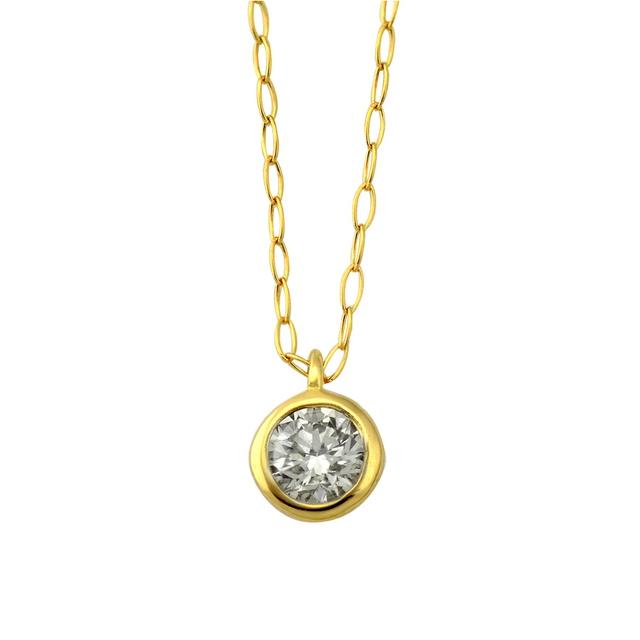 ネックレス レディース ダイヤモンド シンプル K18 イエローゴールド 18k 18金 一粒 【 ESTELLE エステール 】 卒業祝 入学祝