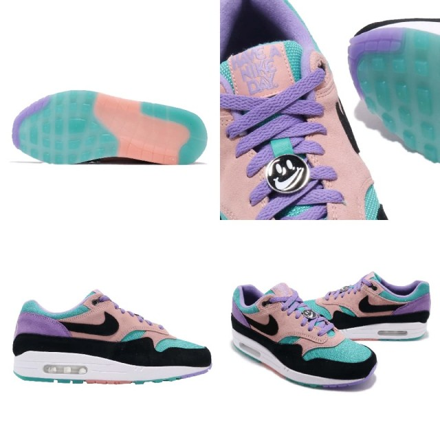 NIKE AIR MAX 1 ND Kie Ney AMAX 1 ND men running shoes SPACE PURPLEBLACK BLEACHED CORAL