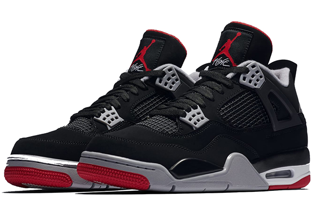 sports shoes 61736 35398 NIKE AIR JORDAN 4 RETRO Nike Air Jordan 4 nostalgic IV men basketball shoes  BLACK/FIRE RED-CEMENT GREY-SUMMIT WHITE