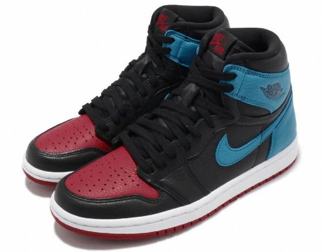 NIKE WMNS AIR JORDAN 1 HIGH OG 【UNC TO CHICAGO】【シカゴ】ナイキ ウィメンズ エアジョーダン 1 ハイ OG BLACK/DARK POWDER BLUE-GYM RED