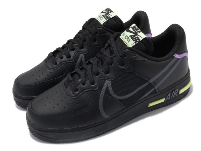 NIKE AIR FORCE 1 REACT D/MS/Xナイキ エア フォース 1 リアクト メンズ カジュアル シューズ黒ボルト BLACK/ANTHRACITE-VIOLET STAR-BARELY VOLT #7