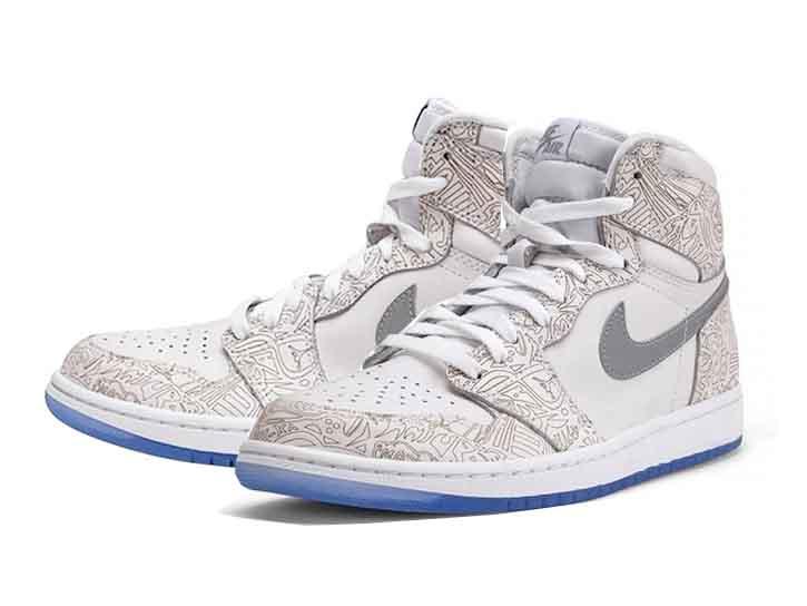 NIKE AIR JORDAN 1 RETRO LASER BG (GS) White Metallic Silver Nike Air Jordan  1 retro laser BG (GS) white 1aaa8fc37