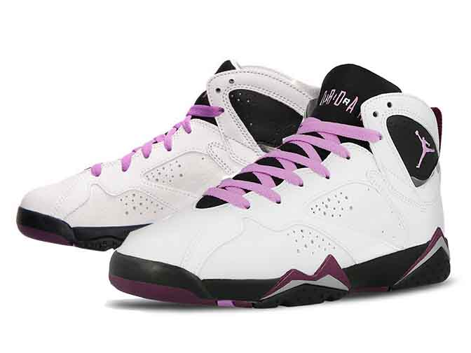 a316b7983 NIKE AIR JORDAN 7 RETRO GG (GS is). One leg and was released to celebrate  the 30th anniversary of the Jordan series! White body black x Mulberry pink  color ...