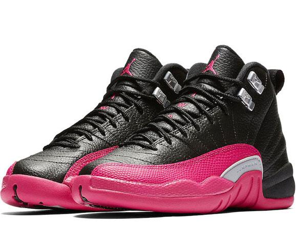 NIKE Air Jordan 12 Retro GG Deadly Pinkエアジョーダン 12 レトロ GG キッズ バスケットボール シューズBLACK/DEADLY PINK-METALLIC SILVER