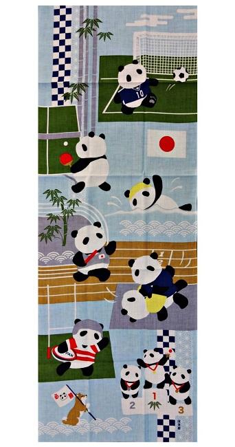 メール便対応 絵手ぬぐい スポーツパンダ 捺染 通年柄てぬぐい パンダ柄 濱文様 高級 引き出物