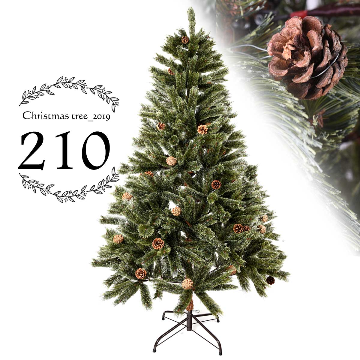 クリスマスツリー ドイツトウヒ ヌードツリー 210cm クリスマス ツリー スリム 北欧 もみの木 おしゃれ ヒンジ式 緑 deal cm19b