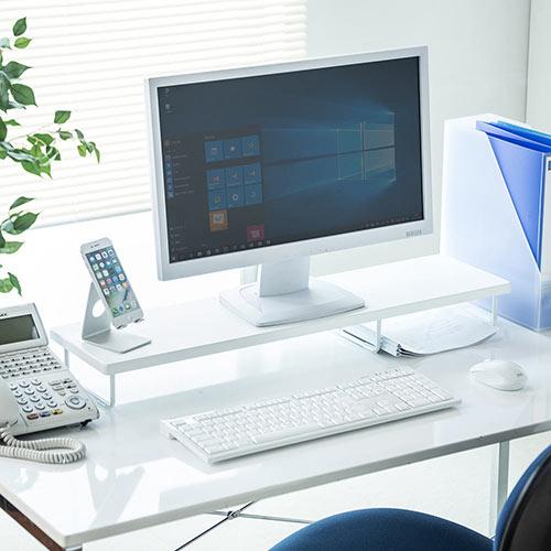 【割引クーポン配布中 ~5/7 09:59まで】モニター台 木製 机上 卓上 ラック 収納 PC 幅77cm 奥行20cm 白 DVDレコーダー収納 ブルーレイレコーダー台 EEX-DES07W