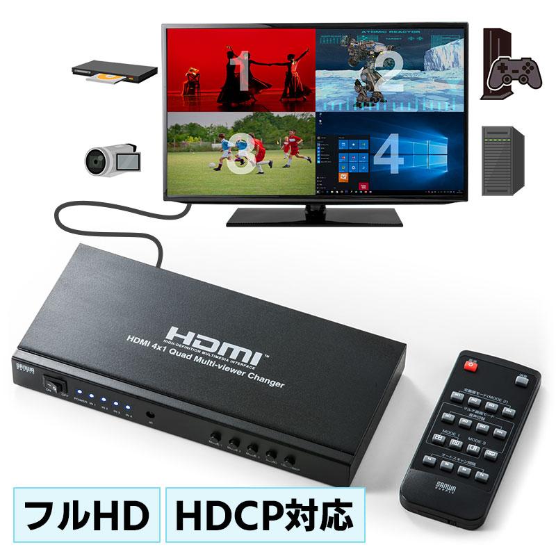 HDMI画面分割切替器(4画面分割・マルチビューワー・フルHD対応・4入力・1出力・オートスキャン機能搭載・リモコン・ACアダプタ付属) EZ4-SW030