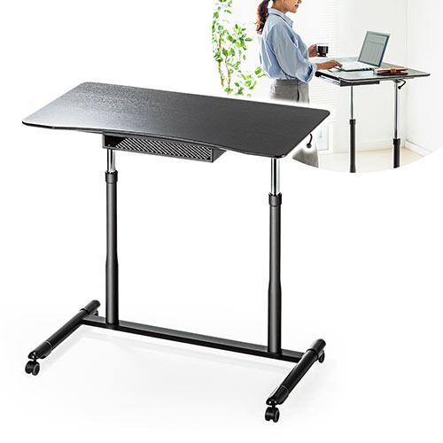 【スーパーSALE! 限定価格】昇降デスク ガス圧式 上下 手動 テーブル 机 キャスター付 スタンディング デスク 横幅95cm EEX-DK04