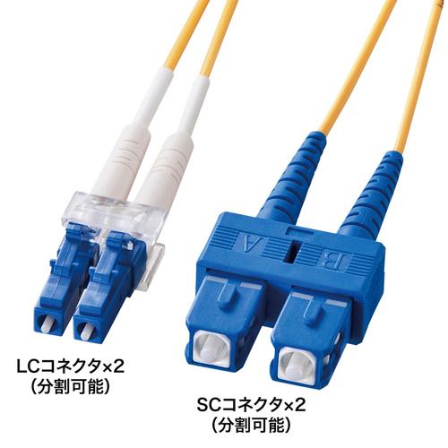 光ケーブル(LC・SCコネクタ・50m・コア径10ミクロン) HKB-LCSC1-50L サンワサプライ【送料無料】