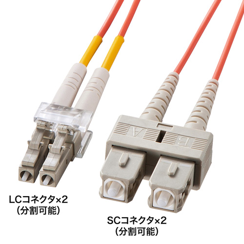 光ケーブル(コネクタ付き・LC・SC・40m・コア径62.5ミクロン) HKB-LCSC6-40L サンワサプライ