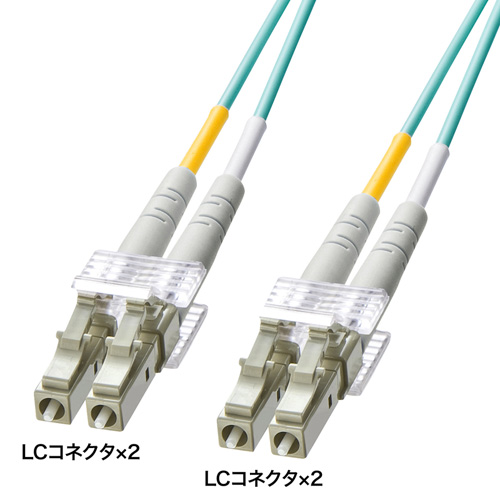 OM3光ファイバケーブル(10m・アクア) HKB-OM3LCLC-10L サンワサプライ【ネコポス対応】
