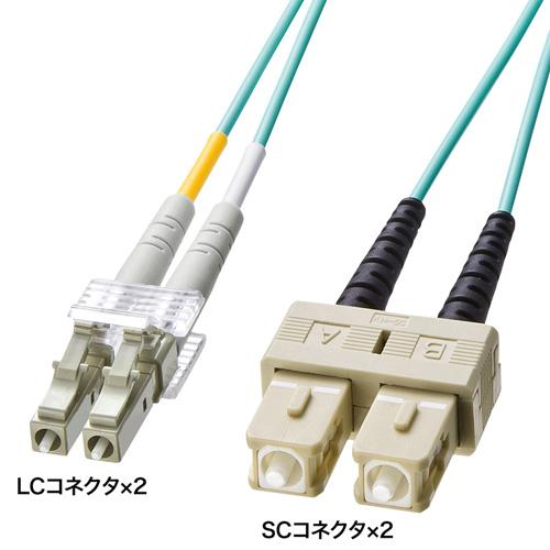 OM3光ファイバケーブル(2m・アクア) HKB-OM3LCSC-02L サンワサプライ【ネコポス対応】