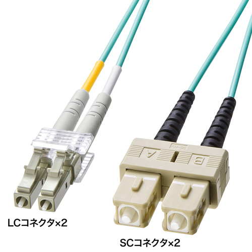 OM3光ファイバケーブル(10m・アクア) HKB-OM3LCSC-10L サンワサプライ【ネコポス対応】
