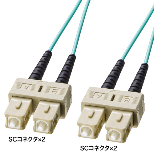 OM3光ファイバケーブル(1m・アクア) HKB-OM3SCSC-01L サンワサプライ【ネコポス対応】