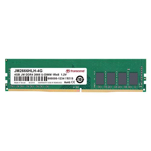 【500円OFFクーポン配布中 ~4/26 01:59まで】デスクトップ用メモリ 4GB DDR4-2666 PC4-21300 U-DIMM トランセンド JM2666HLH-4G【ネコポス対応】