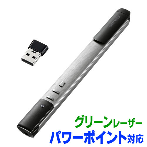 レーザーポインター グリーンレザー パワーポイント 電池式 プレゼン LP-RFG112S サンワサプライ