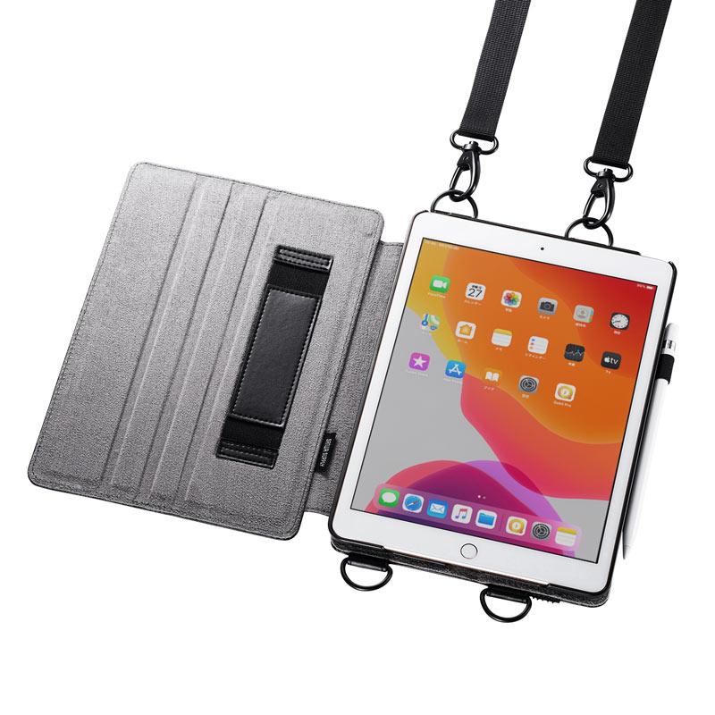 サンワサプライ PDA-IPAD1612BK 訳あり 新品 iPad ケース 第7世代 全品送料無料 卓出 汚れあり スタンドタイプ 10.2インチ用 ※箱にキズ ブラック ペンホルダー付き ショルダーストラップ