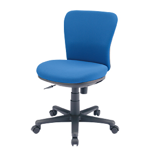 【訳あり 新品】背・座に型崩れしにくい成型ウレタン使用、すわり心地抜群のミドルバックのオフィスチェア(肘無し・ブルー) SNC-021KBL サンワサプライ ※箱にキズ、汚れあり