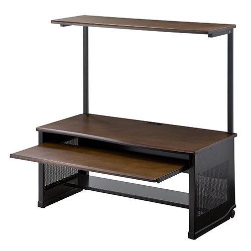パソコンデスク(ロータイプ・木製天板・収納棚付・幅100cm)
