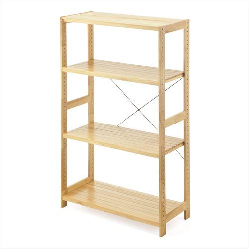 ウッドラック 奥行40センチ 幅90センチ 高さ147センチ 4段 棚板可変 天然木  EZ1-DESKH005