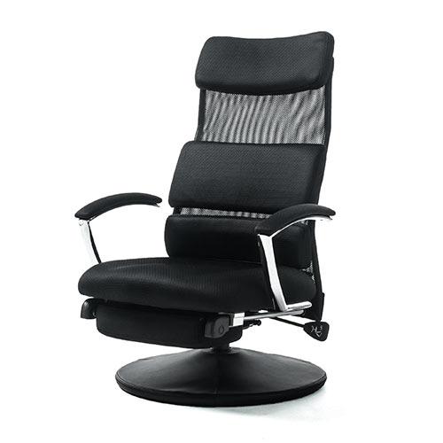 【割引クーポン配布中~4/16 01:59まで】回転高座椅子(メッシュ・オットマン付き・リクライニング・ランバーサポート・ハイバック・ヘッドレスト・ブラック) EZ15-SNCF007